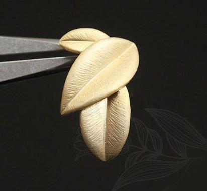Tortite cercei (frunze) placate cu aur 11x19 mm