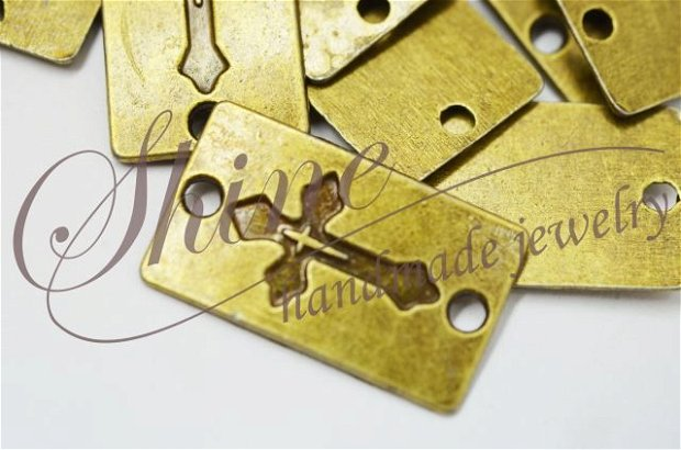 Link dreptunghiular cu cruce, bronz
