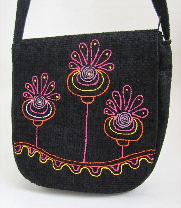 Geanta rotunda - Color flowers