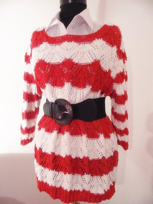 bluza rosu si alb tricotat manual