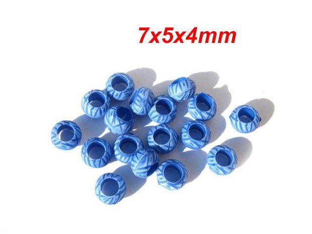 10buc Margele albastre cu model  7x5mm-  MP10