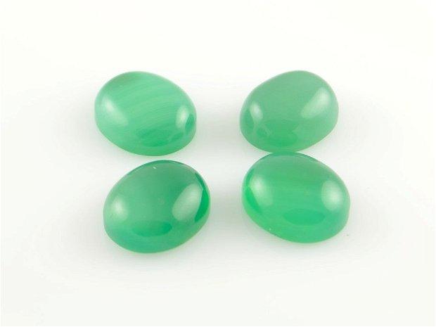 QCab40 Cabochon agata oval, verde, 14x12mm