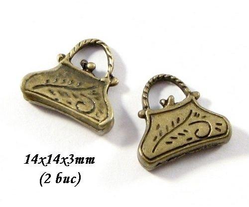 3664 - (2 buc) Charms bronz poseta