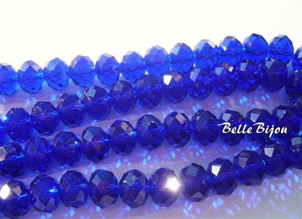 Royal blue cristale mari din sticla fatetata 12x9 mm