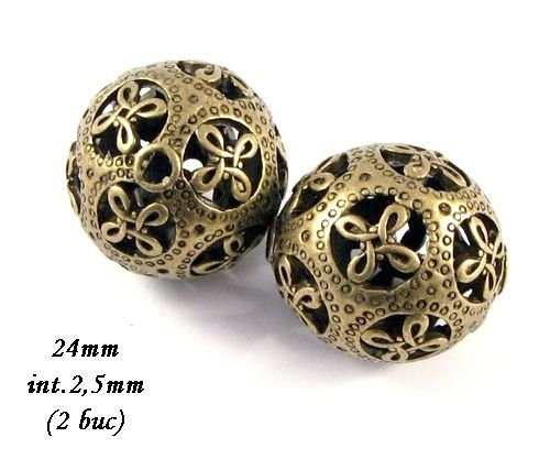 3880 - (2 buc) Margele bronz 24mm
