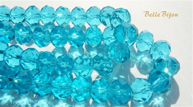 Cristale mari din sticla fatetata bleu turcoaz 12x9 mm