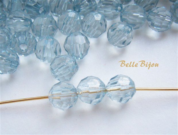 (10 buc) Cristale fatetate bleu din acril de aprox 6 mm