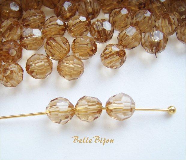 (10 buc) Cristale fatetate maron deschis din acril de aprox 6 mm
