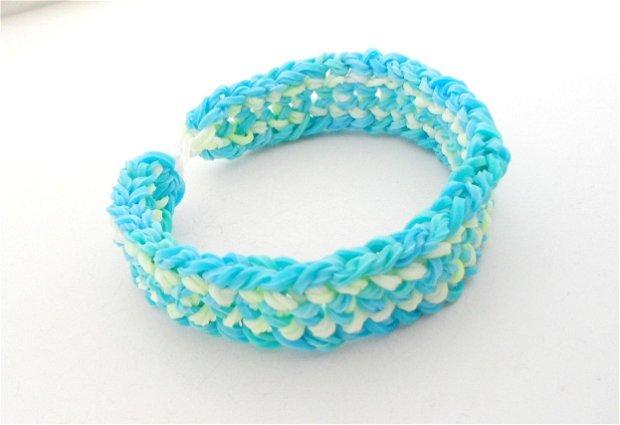 Bratara ''Rubber'' bleu/alb combinat cu galben