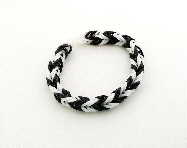 Bratari ''Rubber'' alb/negru