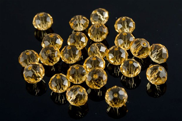 ST1105 Cristale rondele fatetate aurii/ galbene, 10x8mm