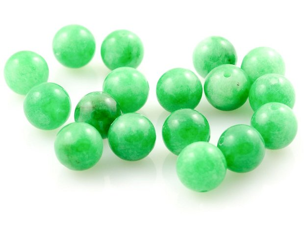 JA645 Jad verde marmorat sfere 8 mm
