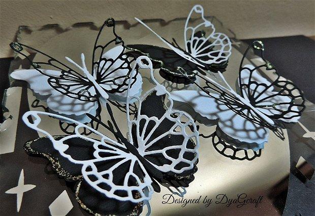 Fluturi Darla alb-negru 10 buc.
