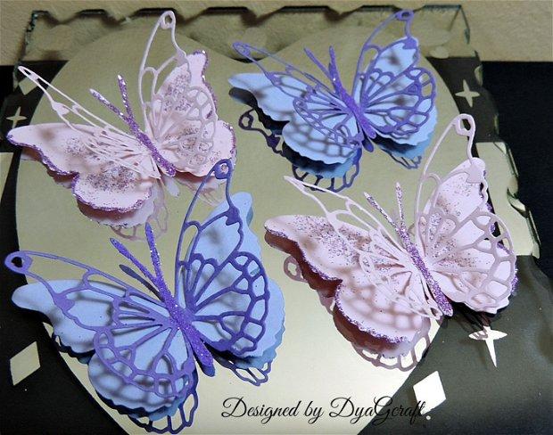 Fluturi decor cu sclipici Darla roz si lila 10 bucati