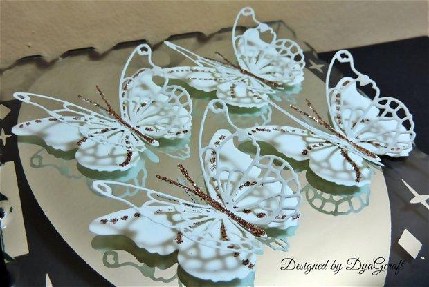 Fluturi decor cu sclipici ivoire
