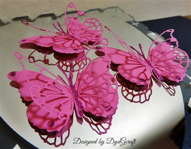 Fluturi decorativi Darla  fucsia 10 buc