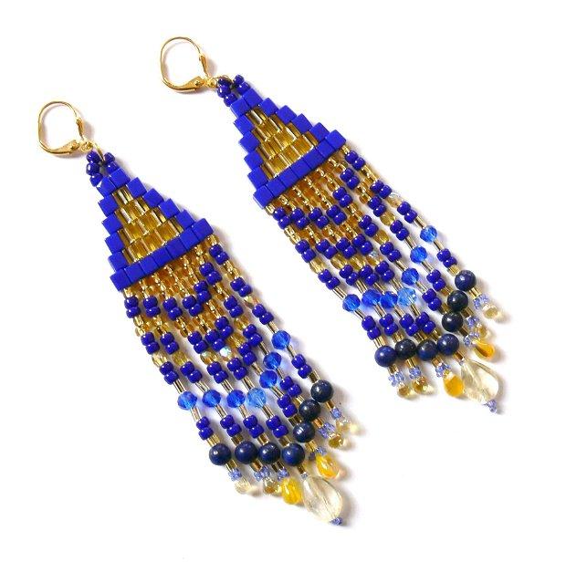 Cercei lapis lazuli si citrin