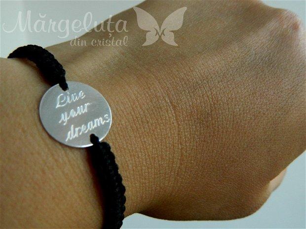 Bratara personalizata - Live your dreams