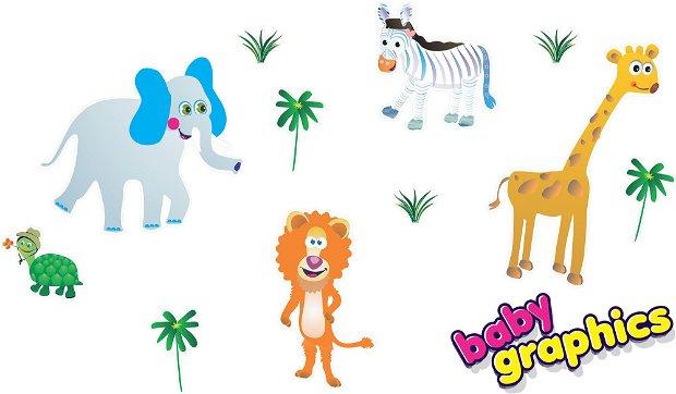 Jungla cu animale autocolante repozitionabile pentru perete (wall stickers) - leu, elefant, zebra, girafa, etc  by babygraphics