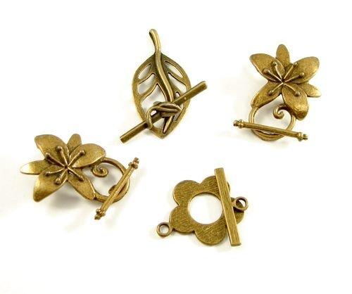 5956 - (4seturi) Inchizatoare toggle, bronz, flori, frunze