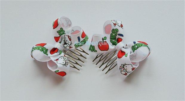 Set 2 agrafe cu Hello Kitty iubeste scoala