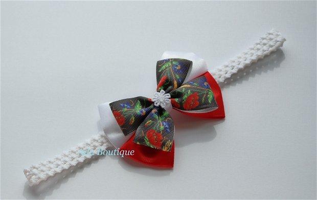 Bentita elastica cu flori de camp fond negru