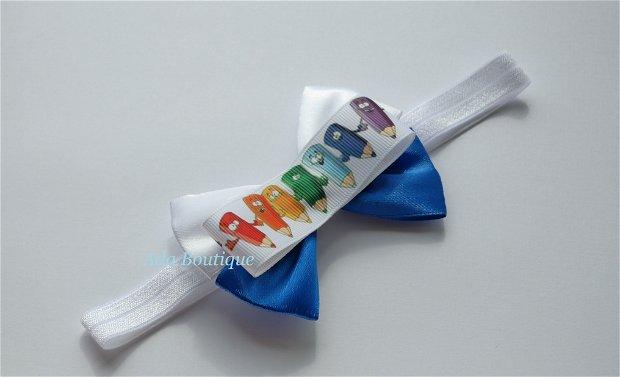 Bentita elastica alba 2in1 cu creioane colorate