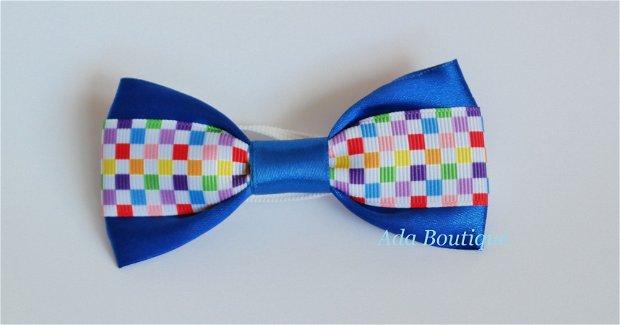 Mini papion cu patratele colorate albastru