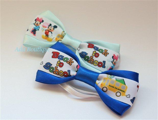 """Mini papion """"Minnie si Mickey la scoala"""" bleu"""