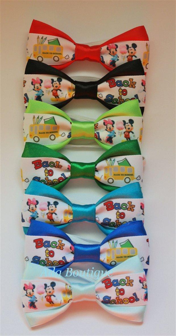 """Mini papion """"Minnie si Mickey la scoala"""" turquoise"""