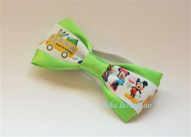 "Mini papion ""Minnie si Mickey la scoala"" verde crud"