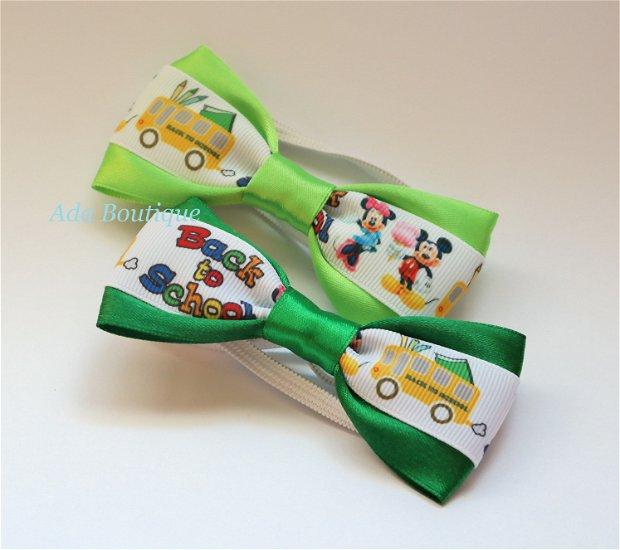 "Mini papion ""Minnie si Mickey la scoala"" verde"