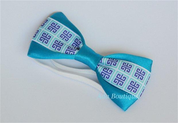 Mini papion cu model geometric  turquoise