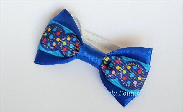 Mini papion cu cercuri si buline albastru