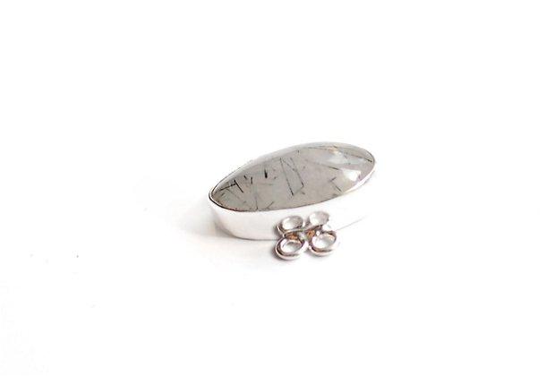 Conector Cuart turmalinat cu anouri duble de prindere pentru multisir  - rama argintata #1