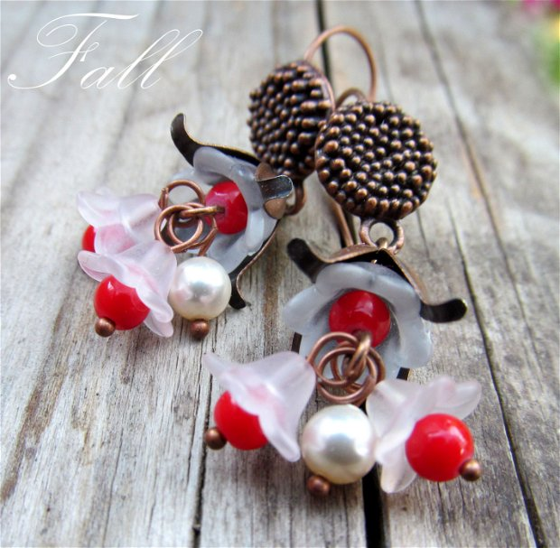 Cercei cupru/perle SW/portelan FALL