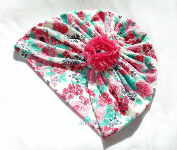 Turban dublu cu trandafiri roz