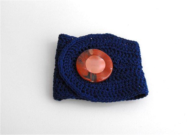 Cuff crochet bracelets - albastru cerneala