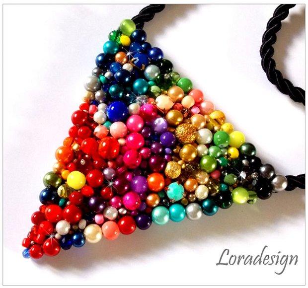 Colier triunghi multicolor