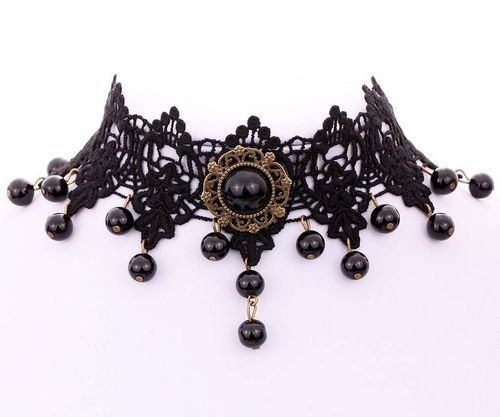 6159 - Baza colier gotic / choker, dantela bumbac aspect matasos, negru, cabochon bronz, margele acrilice