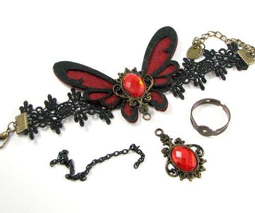 6161 - KIT Baza bratara, dantela bumbac cu aspect matasos, negru, inel reglabil, fluture fetru rosu