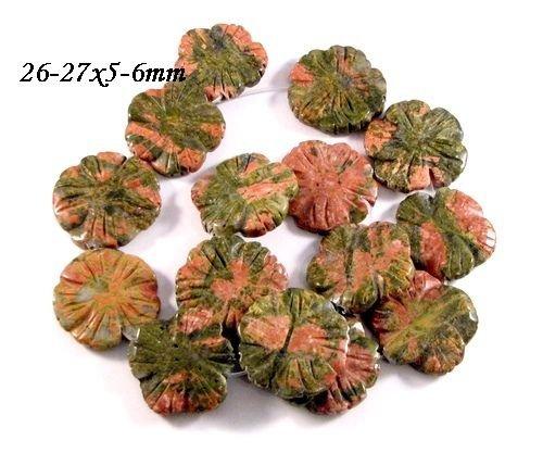 4623 - (2buc) Pandantiv / charms / margele, unakite, floare sculptata