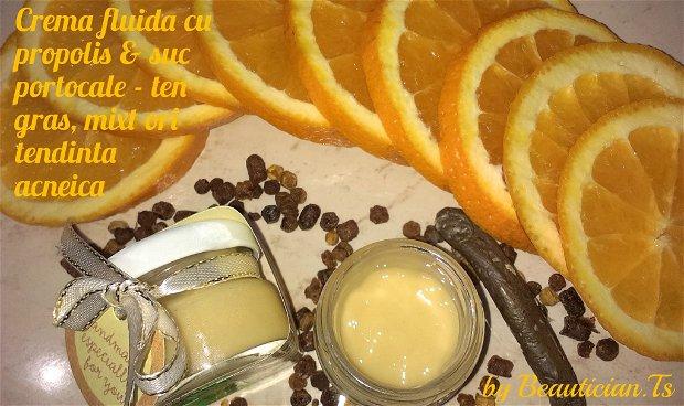 ,,PURIFYING COMPLETE  CREMA NATURALA FLUIDA ptr. TEN GRAS, MIXT ori cu tendinta ACNEICA (cu: propolis, suc de portocale)