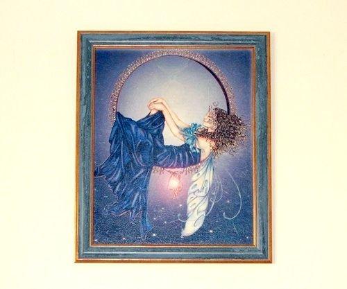 D0268 # Craiasa noptii, tablou, rama, tehnica decoupage, luna