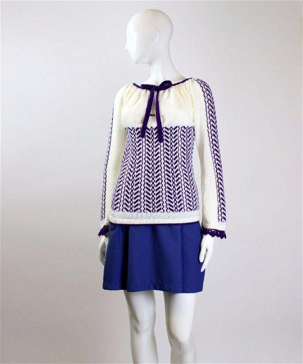 ie tricotata cu model violet 03