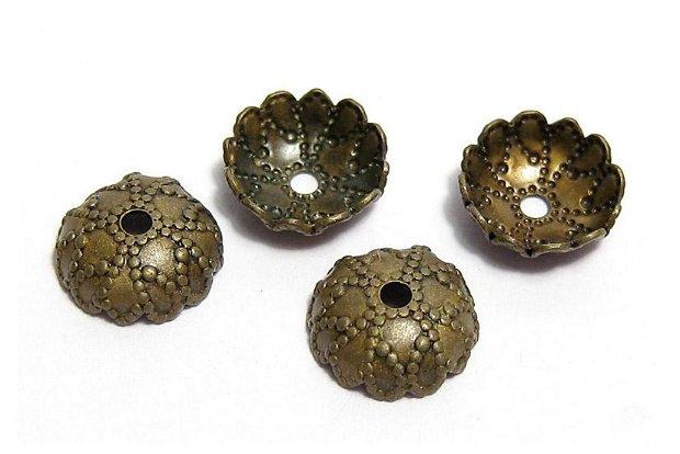 Capacel metalic, antic bronz, 7.5x2.5 mm