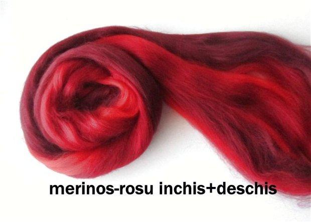 lana merinos-tonuri de rosu inchis/deschis-50g