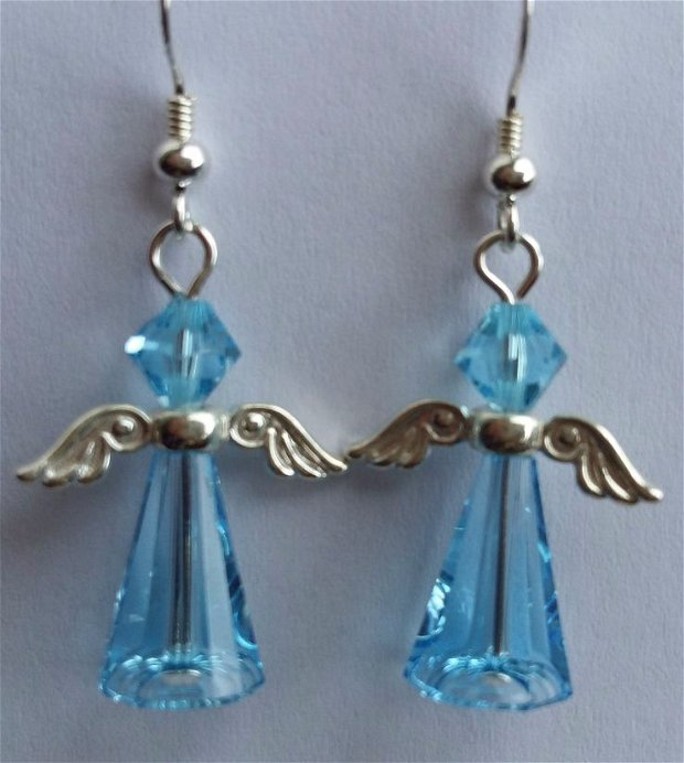 Cercei  Argint si Swarovski  Aquamarine