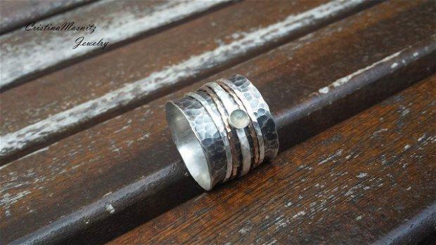 Spinner Ring din argint 925 partial oxidat, sarma goldfilled si pietre semipretioase