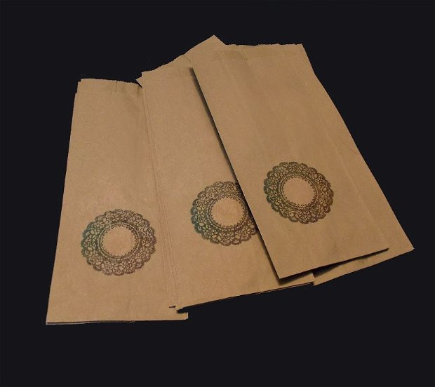 Set 10 buc pungi hartie natur cu  mandala - burduf lateral - 8.5 x 19.5 cm